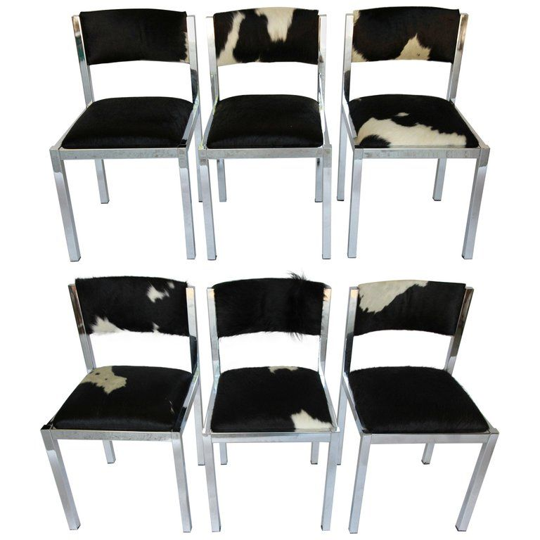 Set Of Six Midcentury Chrome Chairs Newly Upholstered In ...