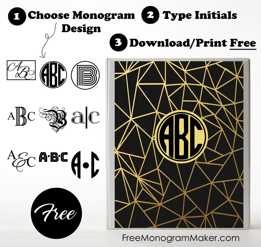 monogram binder cover personalize with free monogram maker