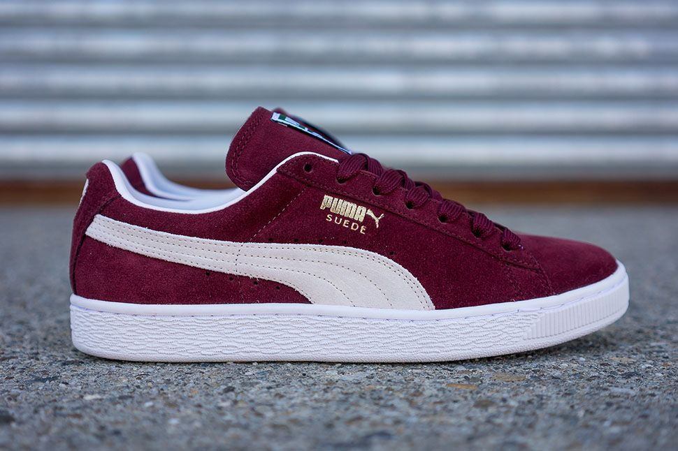 This burgundy colorway of the PUMA Suede Classic can be yours now at select  PUMA retailers