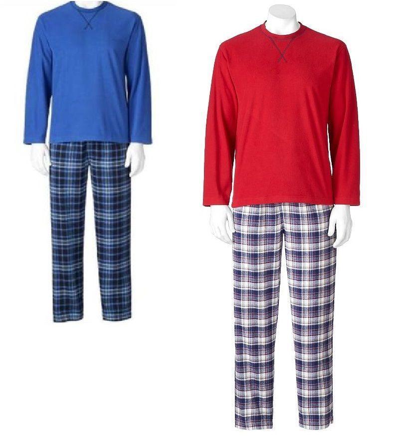 Men/'s Sleep Top /& Microfleece Sleep Pants Set Size XL