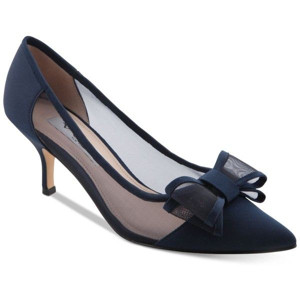 Nina Bianca Mesh Bow Kitten Heel Pumps 200 Sar Liked On Polyvore Featuring Shoes Pumps New Navy P Navy Wedding Shoes Kitten Heel Shoes Pointed Toe Pumps