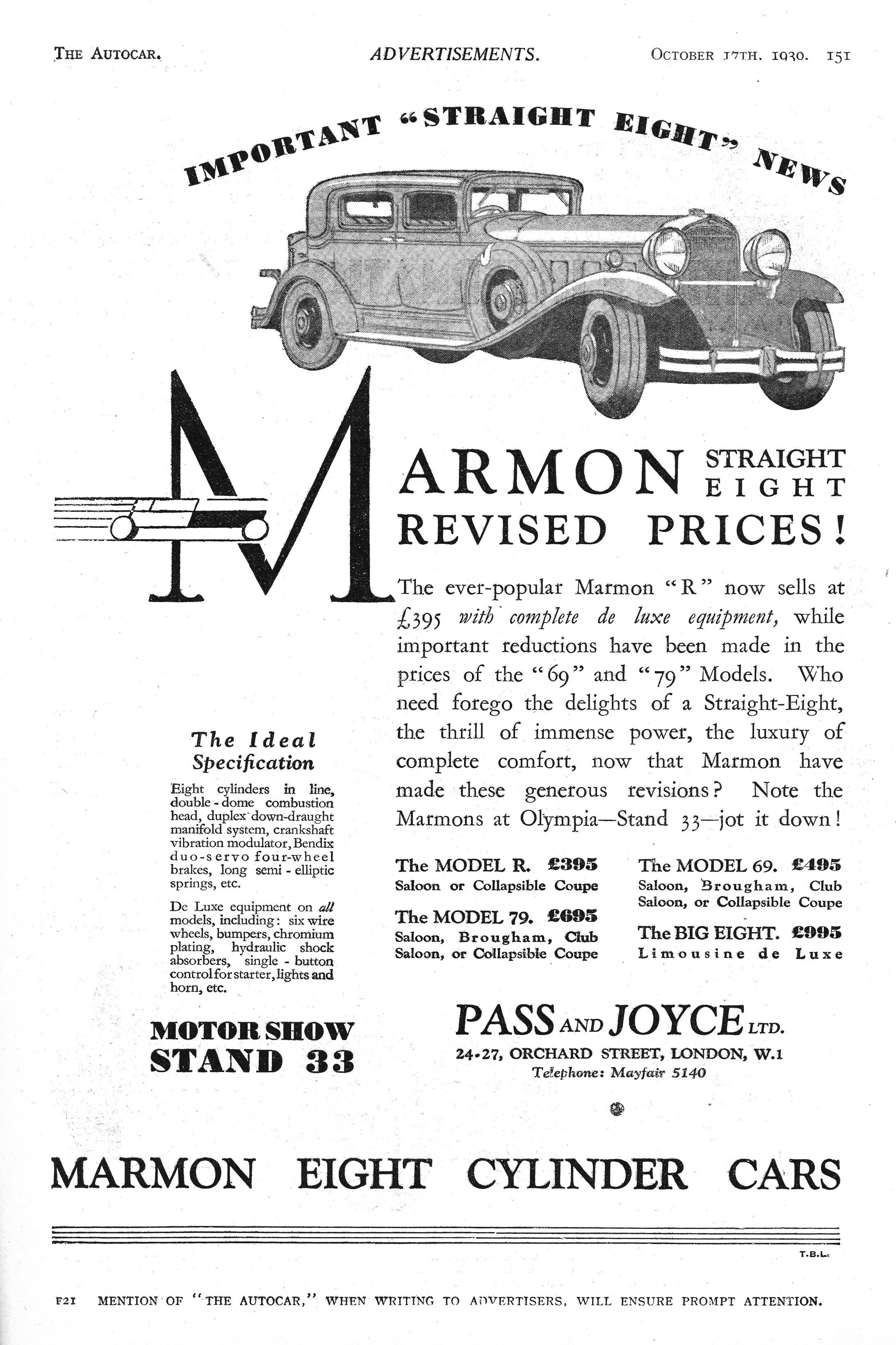 Marmon Eight Cylinder Car Motor Autocar Advert 1930 | Old Rides of ...