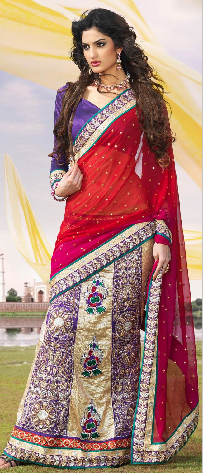 #Red, Beige and #Purple Faux Georgette #Lehenga Style #Saree With Blouse @ $125.95