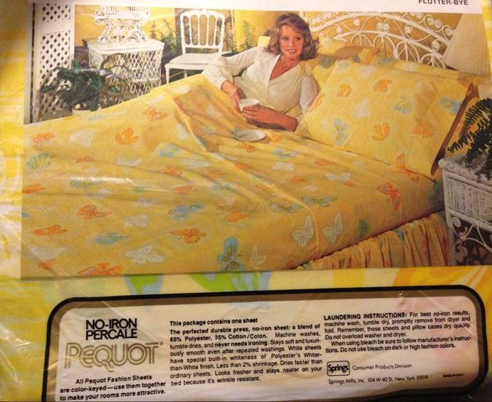 Vintage 1979 Pequot Flutter Bye Pattern No Iron Percale Sheets Orange Blue Green And White Erflies On Yellow Background