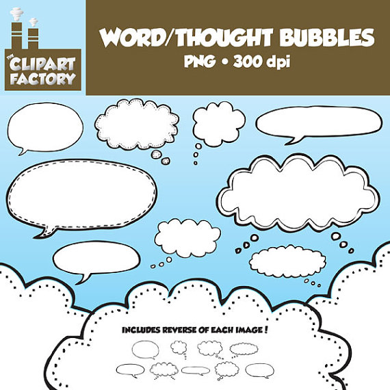Clip Art Hand Drawn Word/Thought Bubbles18 by TheClipartFactory, $2.25