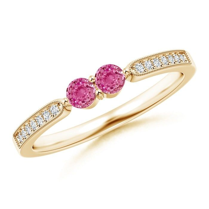 Angara Round Pink Sapphire Past Present Future Engagement Ring