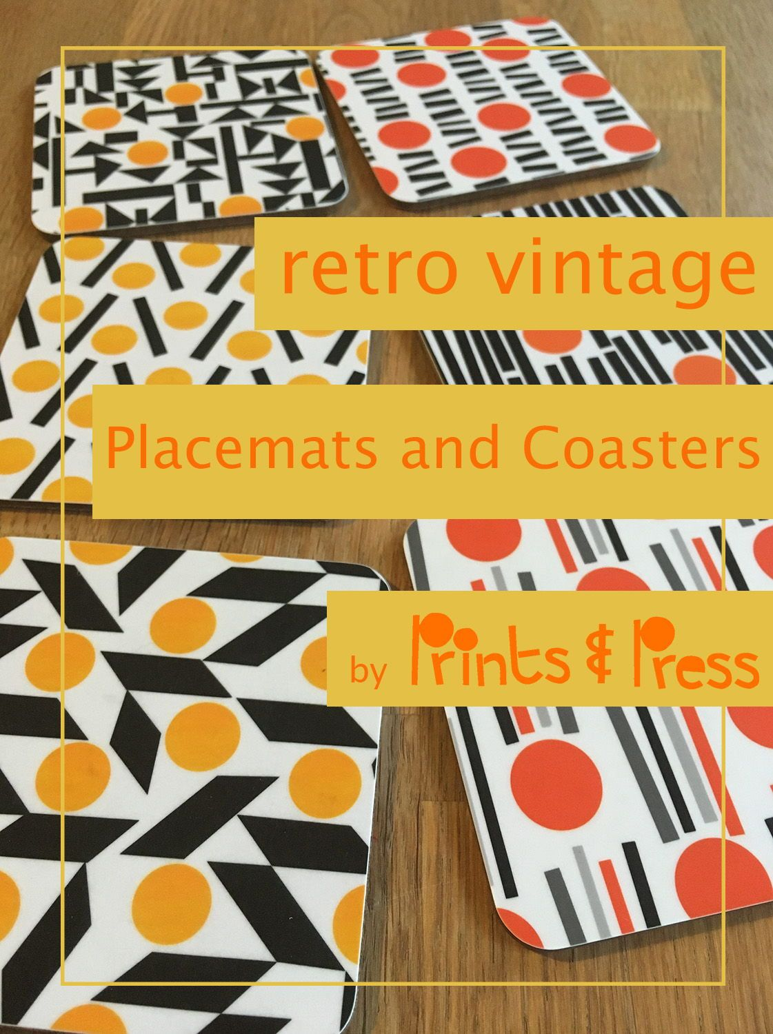 Retro Style Coasters And Placemats Placemats Yellow Home Decor Orange Home Decor