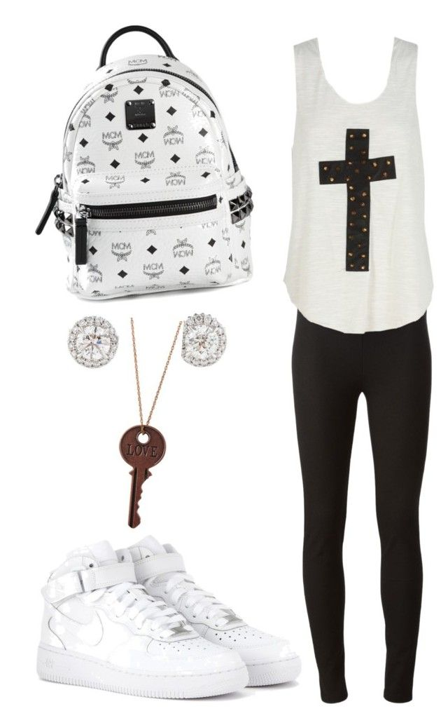 """""""Lazy School Friday"""" by whereisalyssa ❤ liked on Polyvore featuring Joseph, MCM and NIKE"""