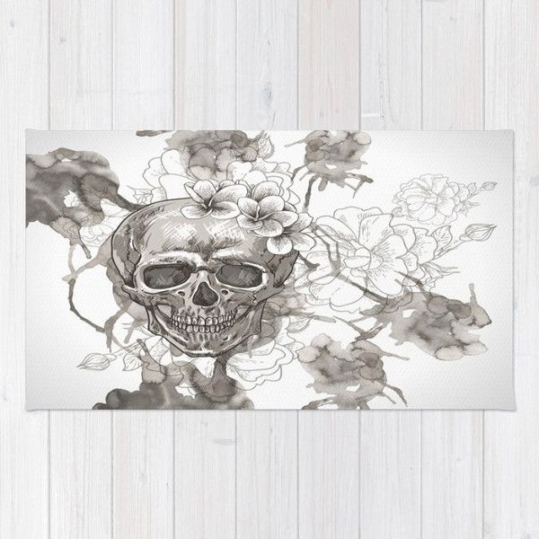 Sugar Skull Rug Skulls Throw Rugs Area Woven White