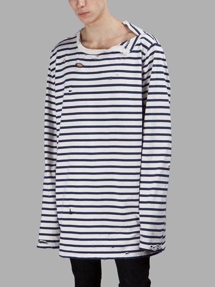 Faith Connexion Faith Connexion Mens Bluewhite Striped Sweater