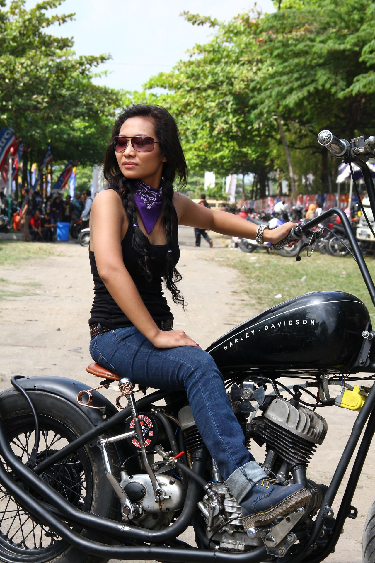 Motolady from Bandung, west-java Indonesia. Rides a Harley Davidson WLC 1948 chopper. (Submission from Daniel)