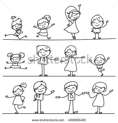set of hand drawing cartoon happy people vector illustration dövme
