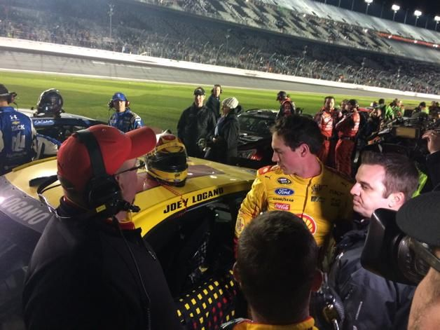 "Kevin Harvick and Joey Logano had heated words post race. ""Kevin being Kevin,"" says JL."