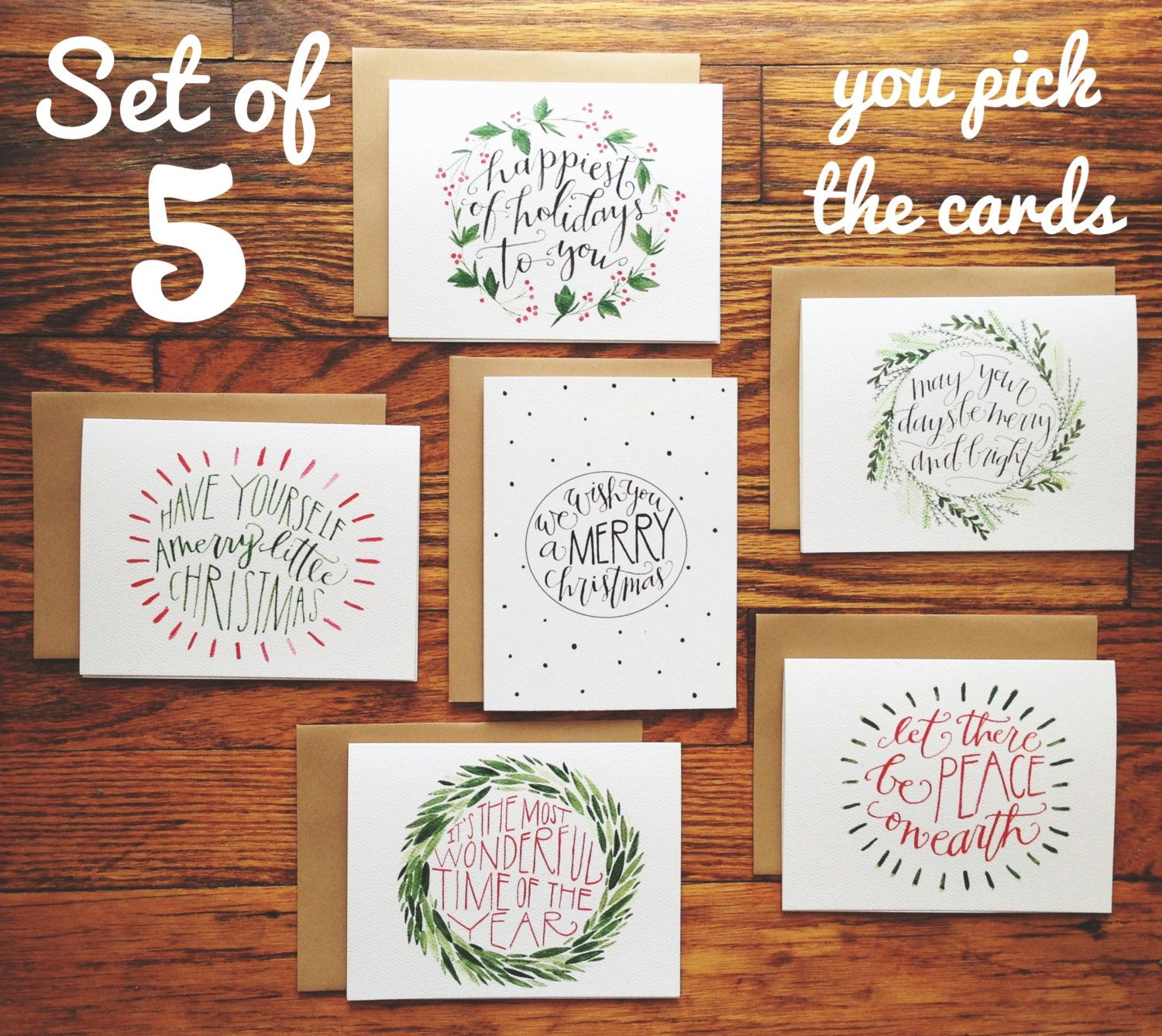 Christmas Cards HandLettered and Illustrated Set of 5 by joliemade