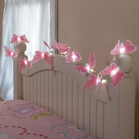HearthSong Butterfly String Lights with Fiber Optic Magic  160 Inch. Whimsical Wonderland   fairytale  quirky  fantasy  ruffles