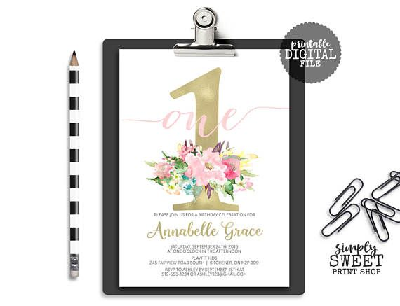 Girl First Birthday Party Invite Invitation Flower Gold Pink Blush - fresh birthday party invitation designs