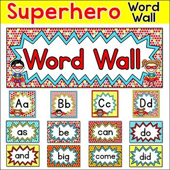Sight Words Word Wall - Editable Superhero Theme Classroom Decor ...