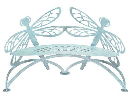 Metal Dragonfly Bench Garden Furniture Outdoor Stools