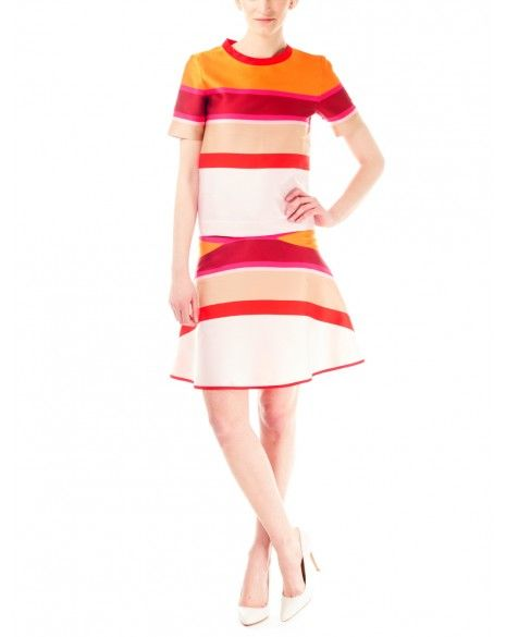 Ostwald Helgason Red Stripe Flare Skirt