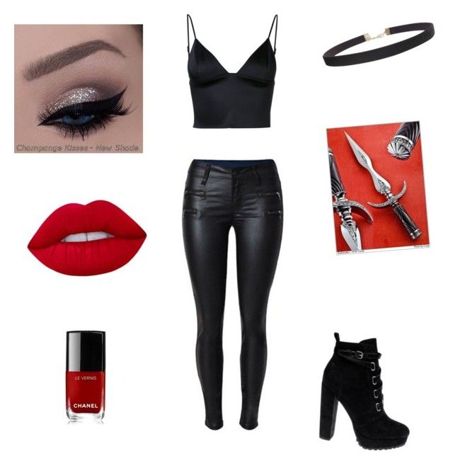 """""""Blair"""" by kaliaustin ❤ liked on Polyvore featuring T By Alexander Wang, Daya, Humble Chic, Chanel and Lime Crime"""