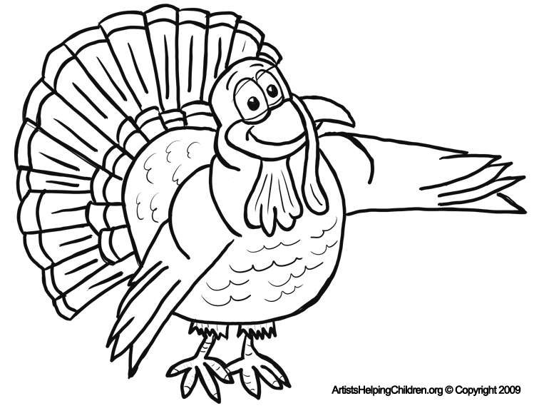 Thanksgiving Cartoon Turkeys Coloring Pages Printouts