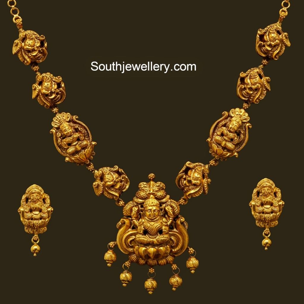 Nagas short necklace temple jewellery pinterest short 22 carat gold antique finish nagas short necklace and earrings set from vummidi jewellers aloadofball Gallery
