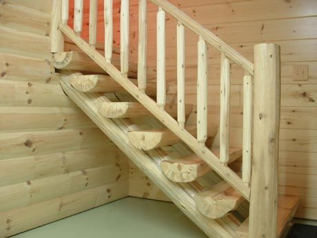 Exceptional Half Log Stairway Wit HLog Railing