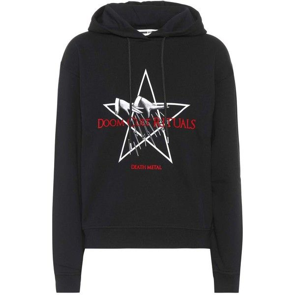 McQ Alexander McQueen Doom Cult Rituals Cotton Hoodie (1 895 SEK) ❤ liked on Polyvore featuring tops, hoodies, black, cotton hoodies, hooded pullover, hoodie top, hooded sweatshirt and cotton hoodie