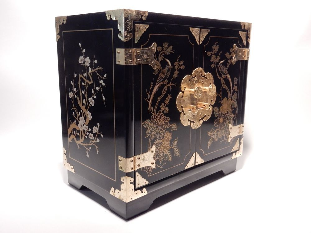 Chinese Hand Painted Black Lacquer Asian Jewelry Box Chest Asian