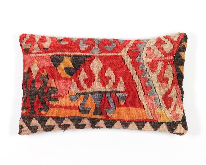 Handwoven Turkish pillow 12 x 20 Decorative Pillow Cover Bohemian Pillow Vintage Kilim Lumbar Navajo Pillow Handmade  Pillows Boho Pillow
