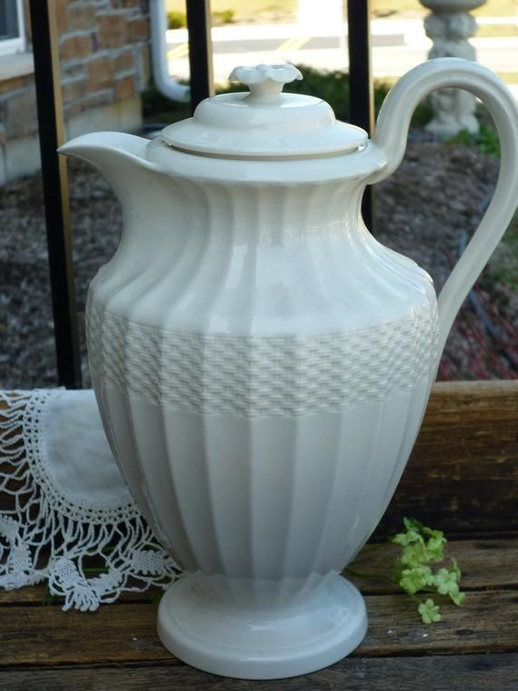 Spode Woven Embossed Ivory Coffee Server, 6 cup. Classic and Regal. Wedding, Bridal Shower,Tea Party, Luncheon. Copeland Spode's, Creamware #coffeeserver