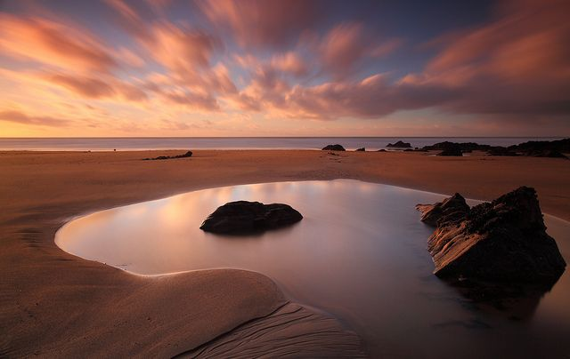 Just before sunset on the north Cornish coast (England).