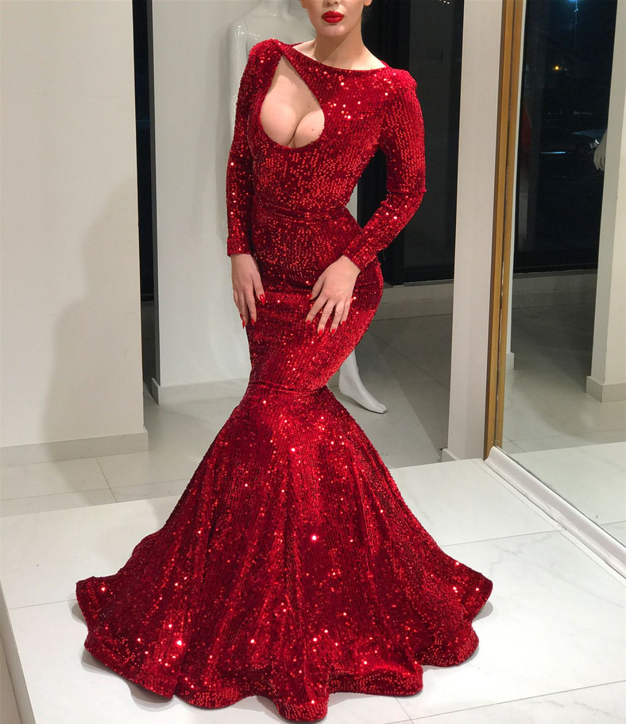 Long sleeves red sequin mermaid prom dress shining evening prom