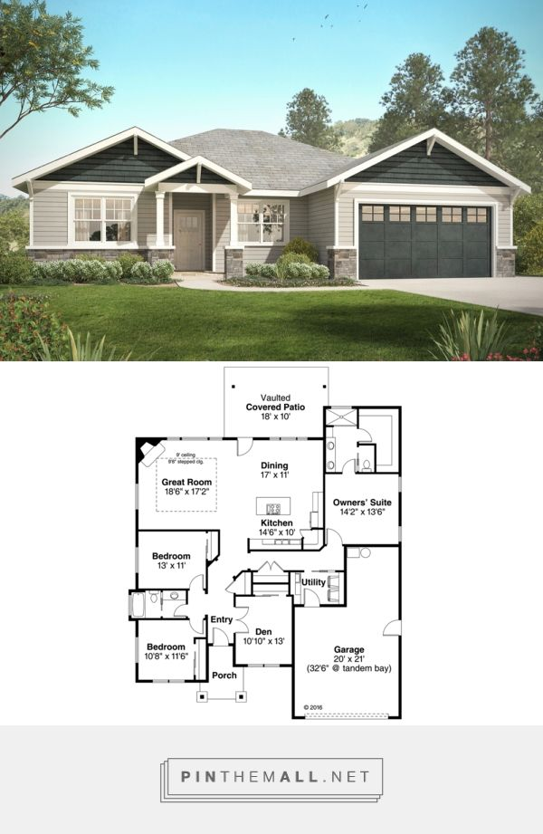 Craftsman Style House Plan 3 Beds 200 Baths 2015 SqFt Plan 124