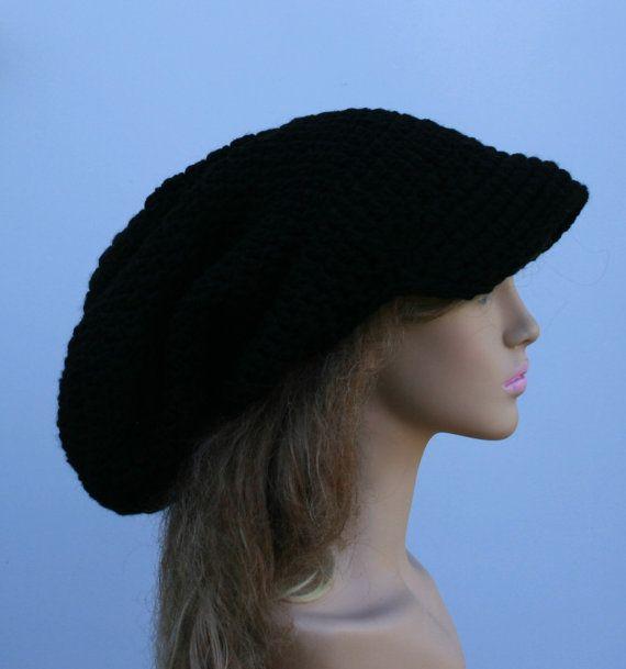 e50d6d9a7a5  Black  tam with  bill  Newsboy  cap  Visor  Dread by  PurpleSageDesignz