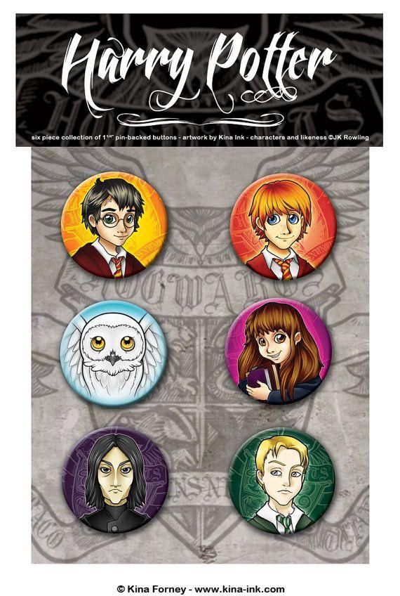Harry Potter Pinback Button Set of 6 on Etsy, $5.00