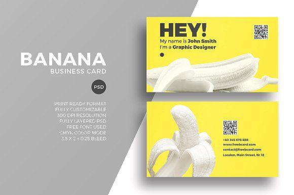 Creative Banana Business Card Vintage Business Cards Template Business Cards Creative Templates Business Card Template Design