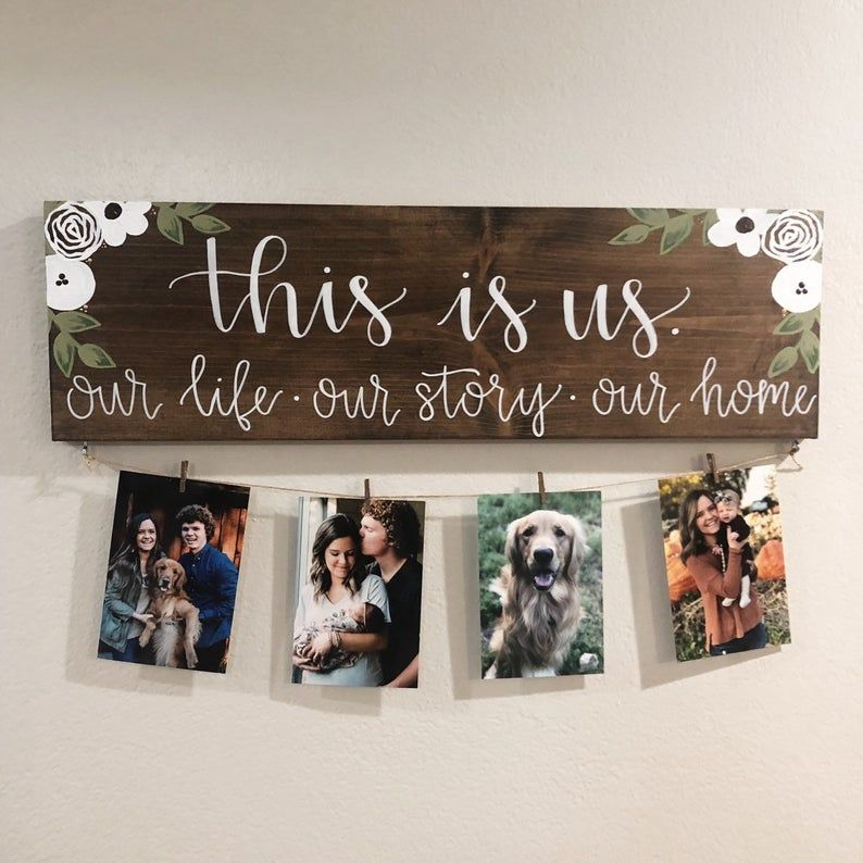 This Is Us Stained Solid 24x7.5 Wood Sign with Photos
