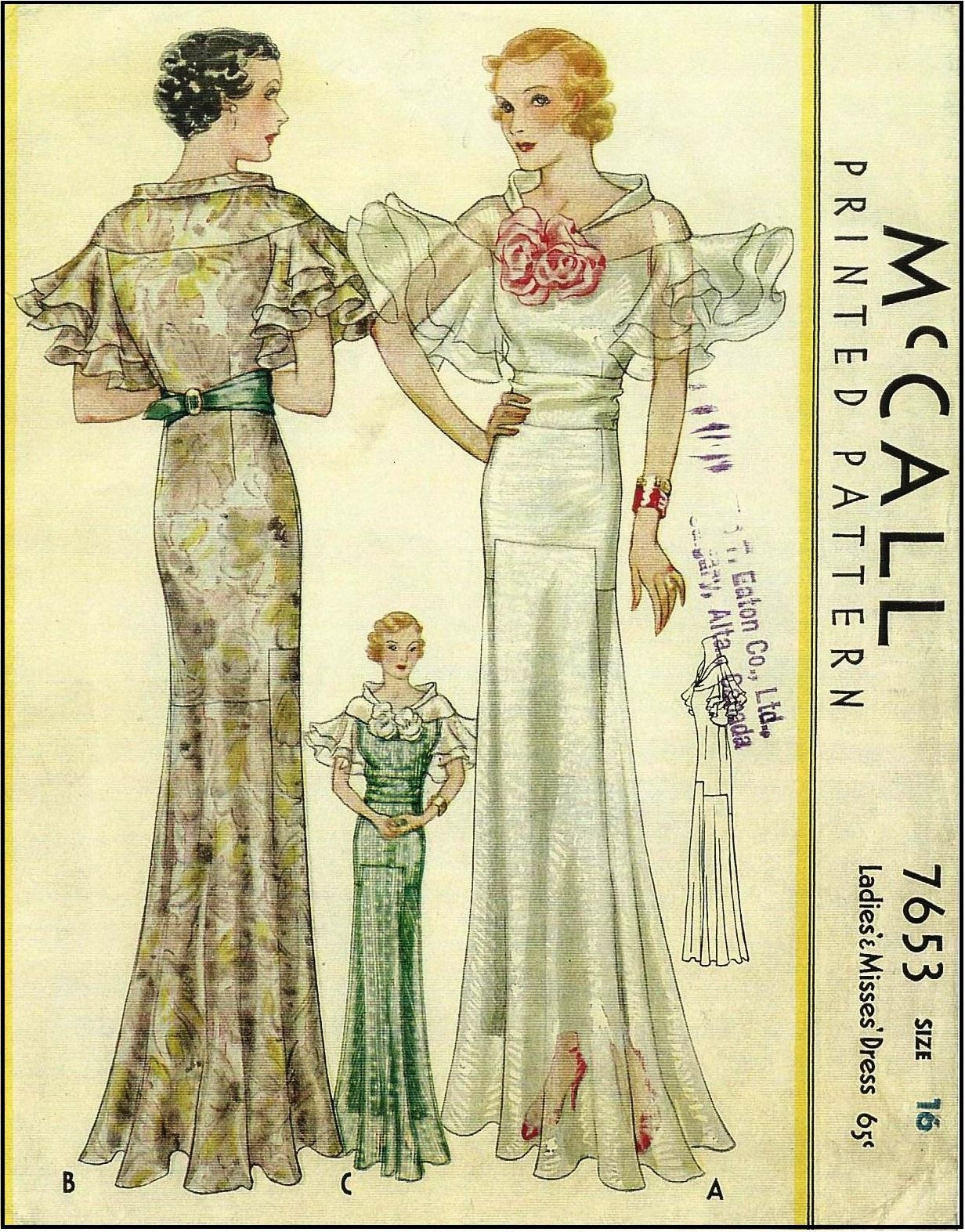 Mccall 7653 1930s Ladies Evening Gown With Ruffled Sleeve Detailing Sewing Pattern Vintage Dress Patterns Vintage Fashion 1930s Vintage Patterns [ 1573 x 1232 Pixel ]