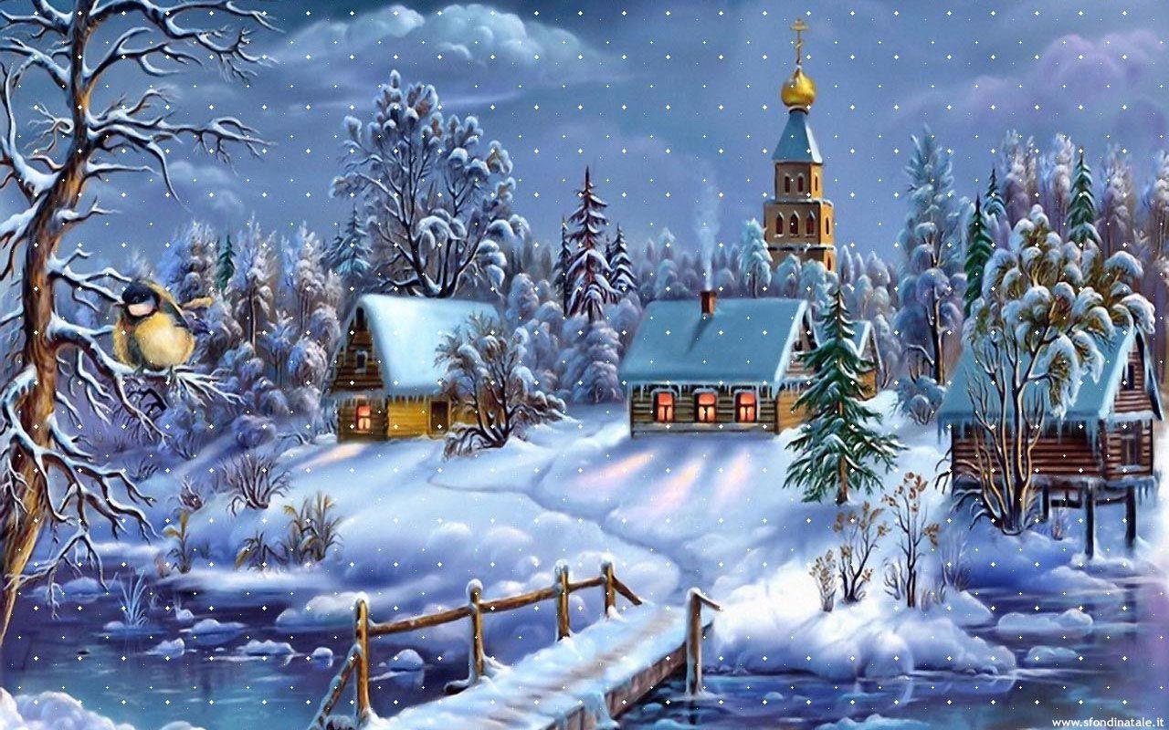 Sfondi Paesaggi Natalizi.Immagini Di Natale Biglietti Di Natale Vintage Buon Natale