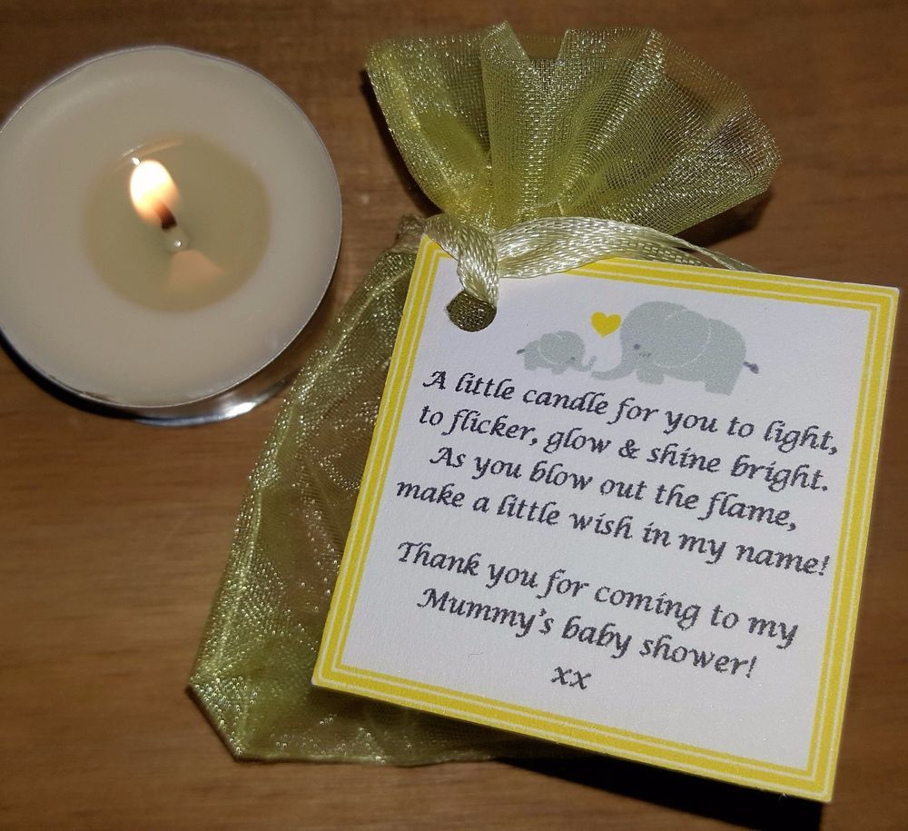 Baby shower favours vanilla candles can be personalised