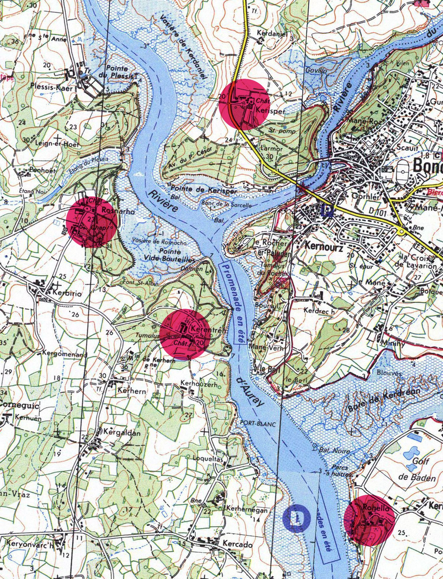 Carte De La Riviere D Auray Montrant Le Port Du Bono Le Bono Morbihan Golfe Du Morbihan