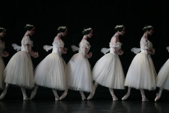 The corps of Paris Opera Ballet, Giselle Act II. Photo: Sébastien Mathé and Tim Chong