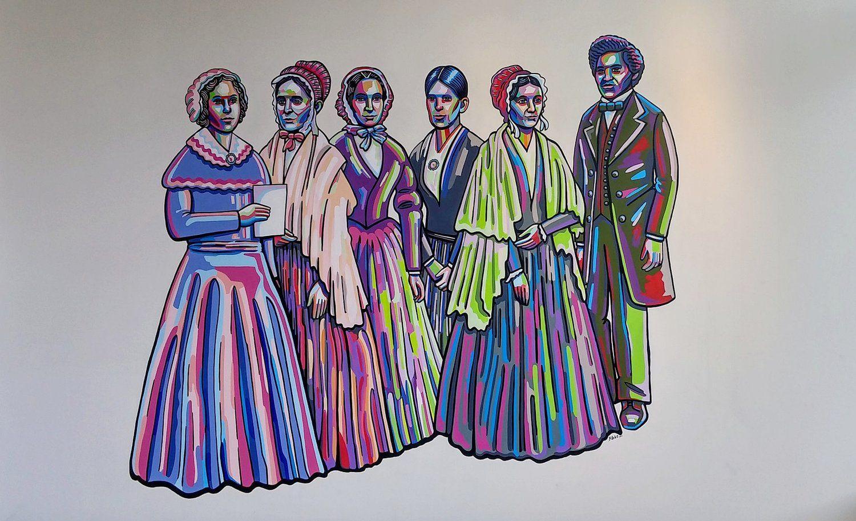 Left To Right Elizabeth Cady Stanton And Lucretia Mott The Originators Of The 1848 Seneca Falls W Elizabeth Cady Stanton Colorful Portrait Female Role Models