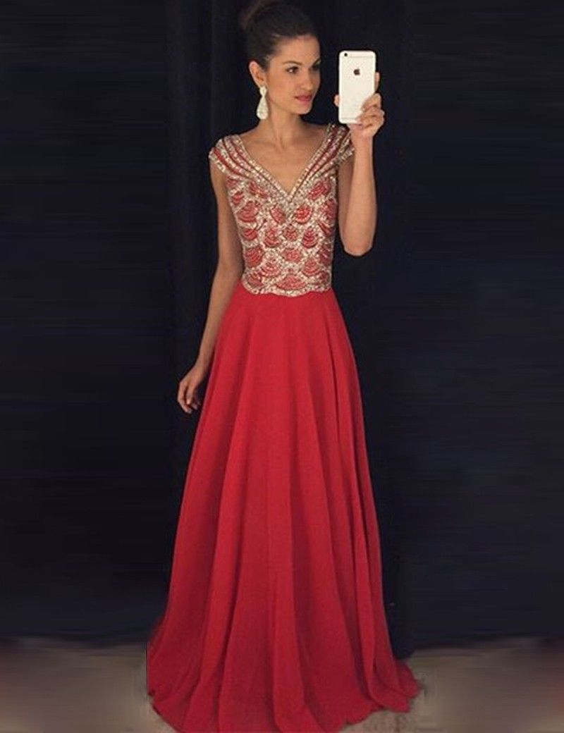 Aline vneck cap sleeves floorlength red chiffon prom dress with