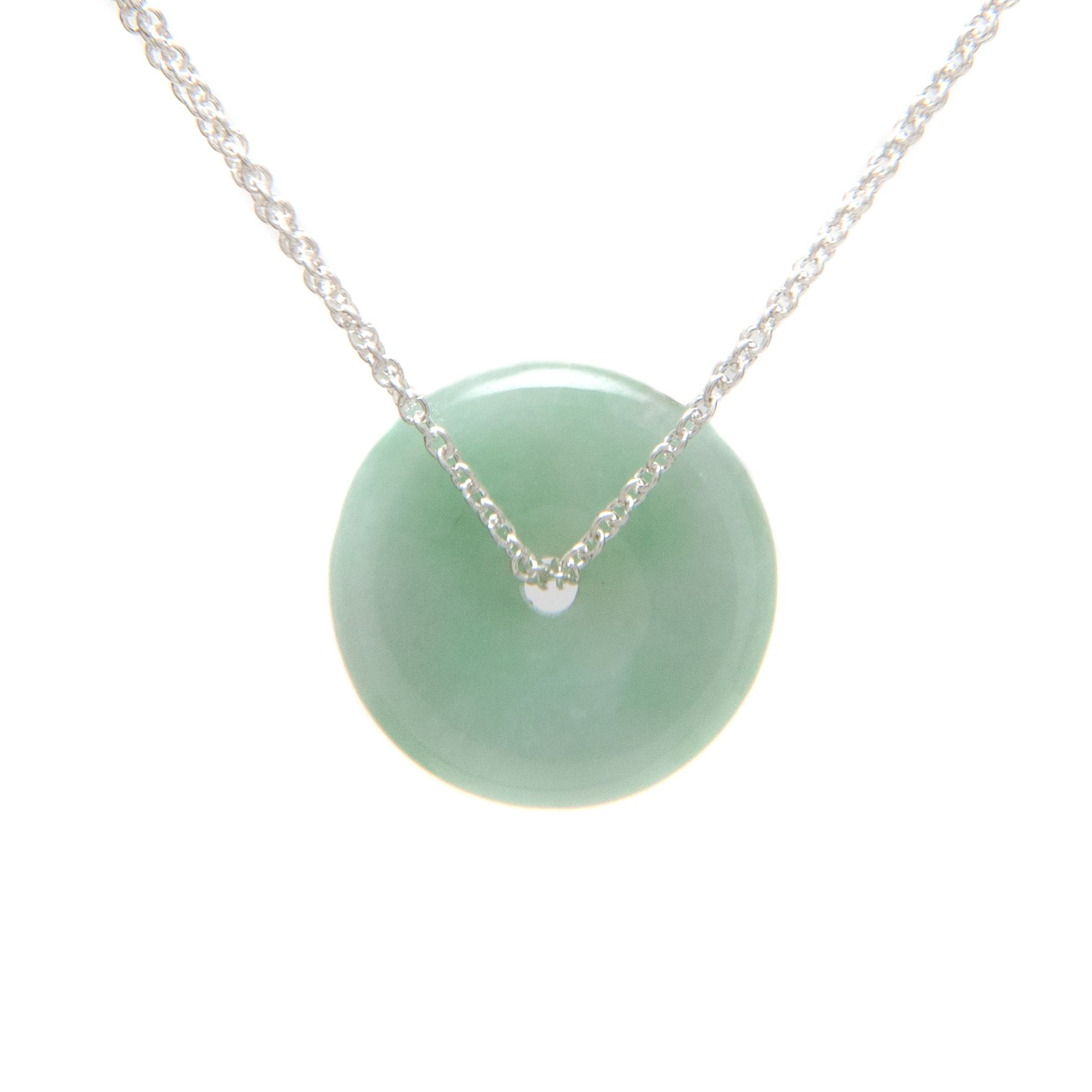 jewelry pendant disc necklace bling wj jade green and sterling leaves cz circle silver