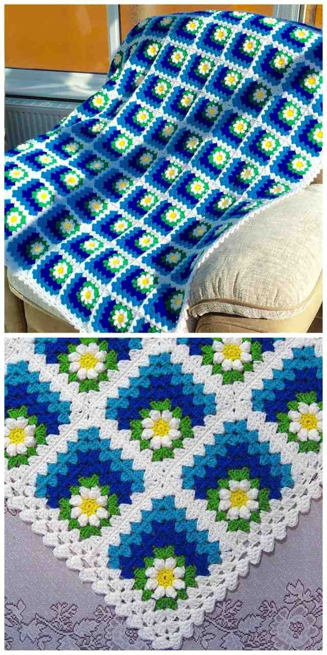 Mitered Daisy Granny Squares Blanket Free Crochet Pattern and Video Tutorial #afghans