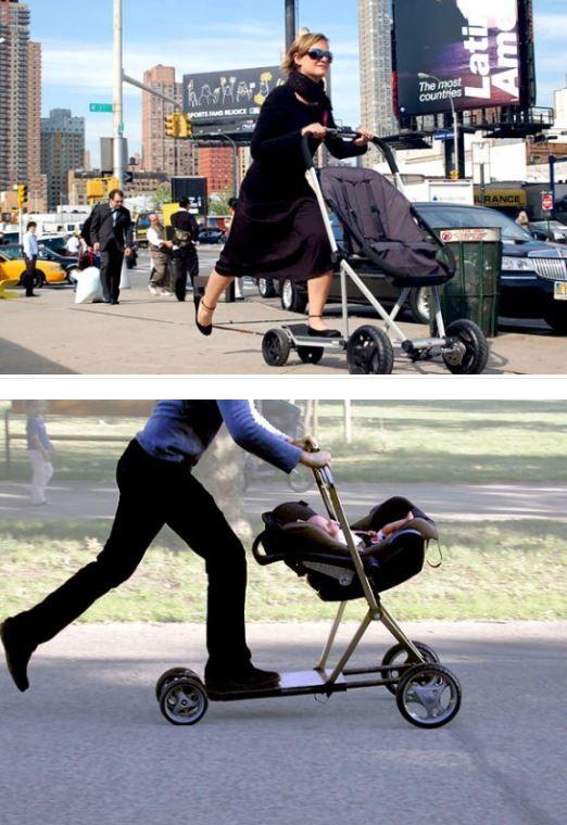 Baby Stroller And Scooter Hybrid 즐겁게 유모차 사용하세용 유모차 멋진 발명 쇼핑 카트