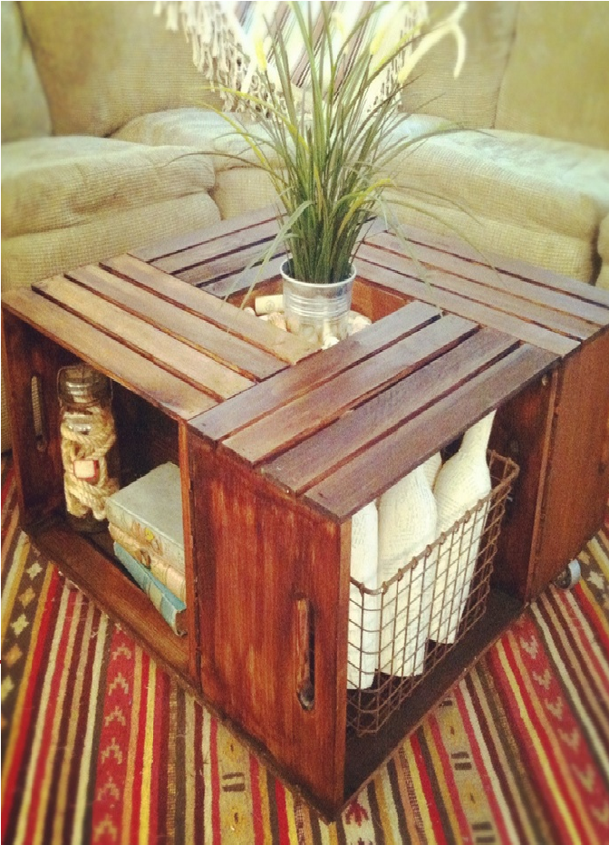 a pallet center table with storage