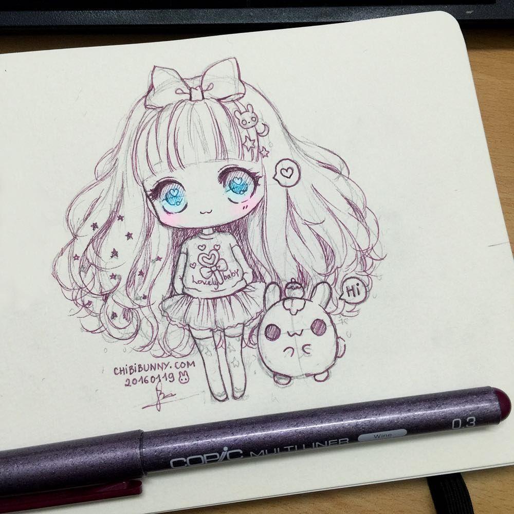 Cute chibi drawing! | | arts | | Pinterest | Kawaii, Sketches and Anime